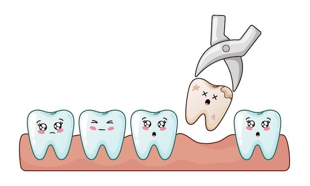 Diente kawaii dientes malos y problema de extracción dental.
