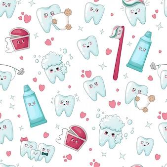 Diente kawaii de patrones sin fisuras, hilo dental, pasta de dientes, cepillo de dientes
