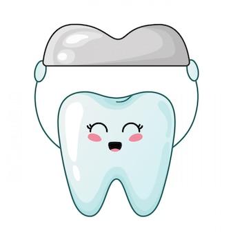 Diente kawaii saludable con personaje de dibujos animados lindo corona de metal dental