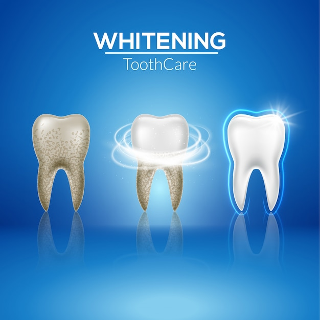 Diente limpio 3d salud. blanqueamiento sucio realista dental. plantilla de medicina aislada de higiene dental de dentista