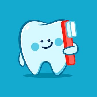 Diente lindo con un personaje de dibujos animados de vector de cepillo de dientes aislado sobre fondo.