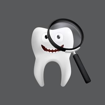 Diente sonriente con una lupa. lindo personaje con expresión facial. divertido para el diseño de los niños. ilustración realista de un modelo de cerámica dental aislado sobre un fondo gris