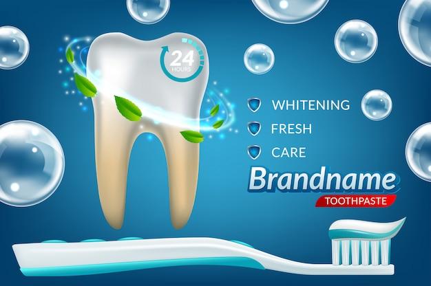 Dientes para blanquear los anuncios de pasta de dientes.