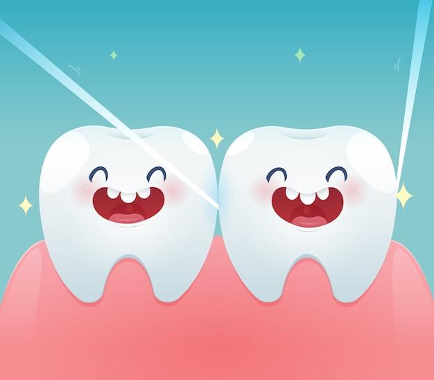 Dientes de dibujos animados con hilo dental para la salud