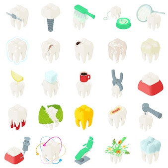 Dientes de dientes dentista iconos conjunto. ilustración isométrica de iconos de vector dentista dientes 25 dientes para web
