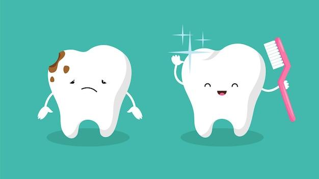 Dientes. dientes en placa, diente blanco brillante. higiene bucal y dolor de muelas. personajes de vector feliz y triste dentales