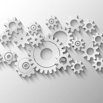 Dientes integrados y engranajes emblema ilustración vectorial