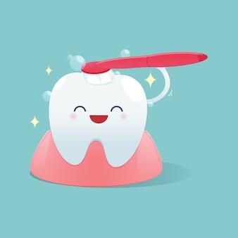 Dientes lindos dibujos animados sonrisa feliz y cepillar los dientes de limpieza