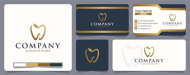Dientes, salud dental, clínica, fresco, natural, diseño de logo y tarjeta de presentación.