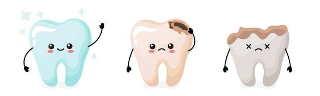 Dientes sanos y cariados con caries. lindos dientes kawaii. ilustración vectorial en estilo de dibujos animados.