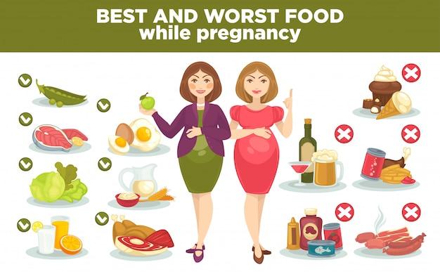 Dieta de embarazo mejor y peor comida durante el embarazo.
