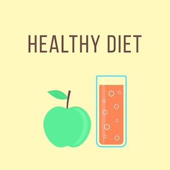 Dieta saludable con manzana y vaso de jugo de naranja. concepto de comidas dietéticas de fitness, cocina, antioxidantes, batidos, alimentos no válidos, postres para beber. ilustración de vector de diseño moderno de moda de estilo plano