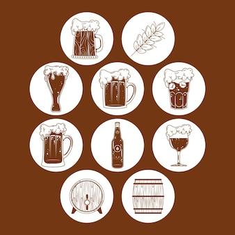 Diez cervezas bebidas set iconos