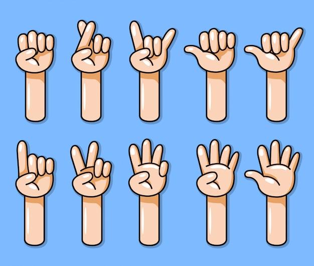 Diez dibujos animados mano gesto vector ilustración conjunto.