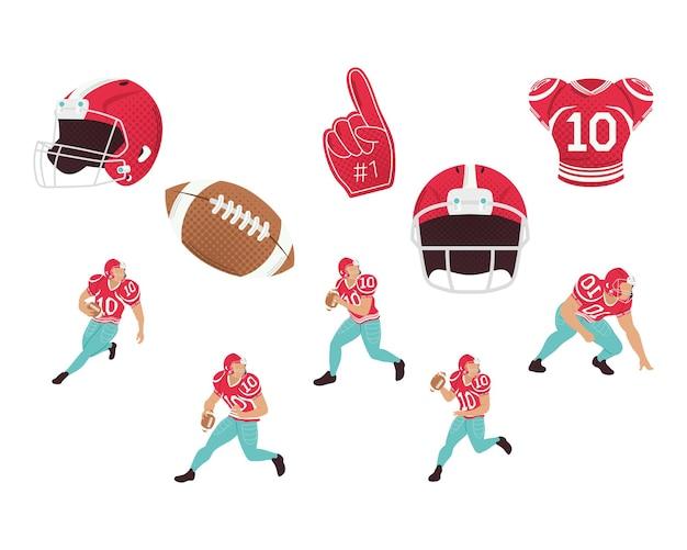 Diez elementos de fútbol americano.