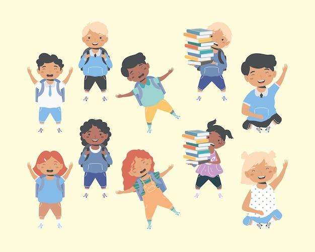 Diez estudiantes personajes de regreso a la escuela.
