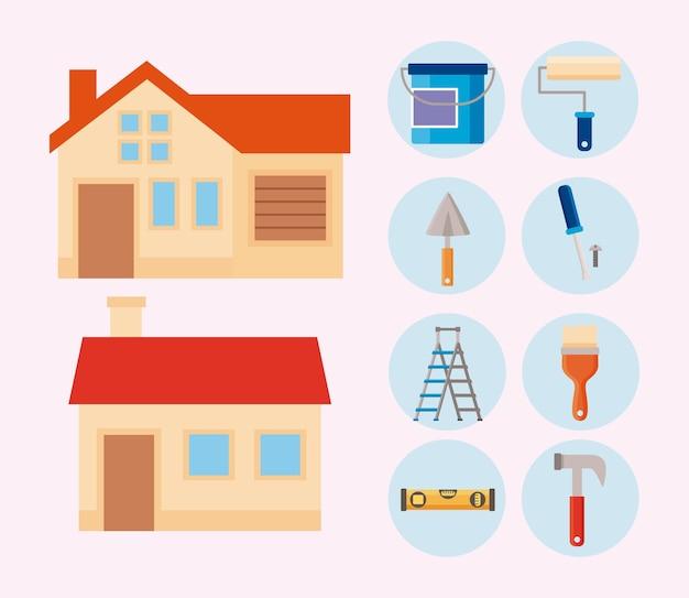 Diez iconos de conjunto de mejoras para el hogar