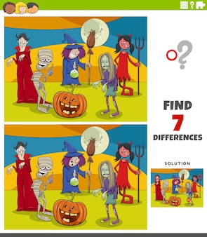 Diferencias tarea educativa para niños con personajes de halloween.
