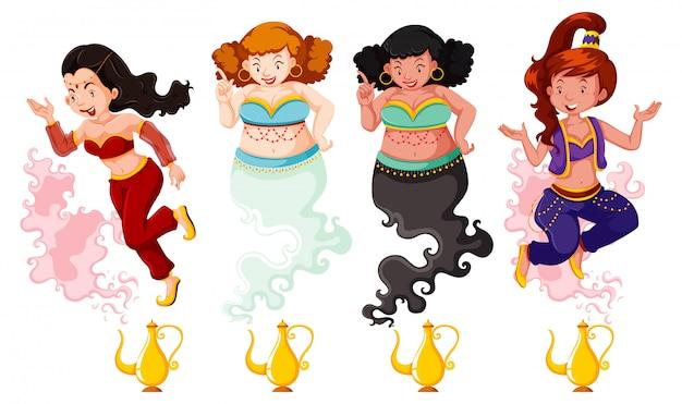 Diferente de genie girl linterna mágica o lámpara aladdin en color y silueta sobre fondo blanco.