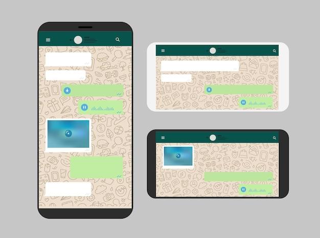 Diferente teléfono inteligente moderno con aplicación de mensajería.