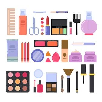 Diferentes accesorios de maquillaje para chicas y mujeres.
