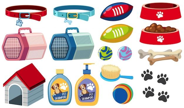 Diferentes accesorios para perros sobre fondo blanco