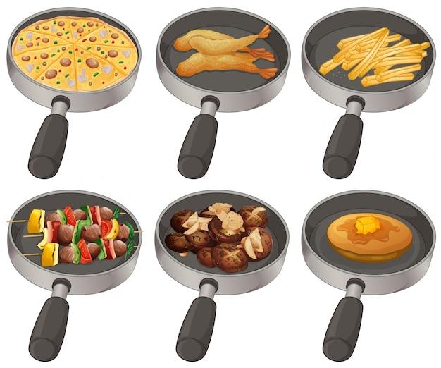 Diferentes alimentos en la sartén ilustración