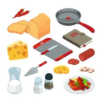 Diferentes alimentos y utensilios de cocina para cocinar.