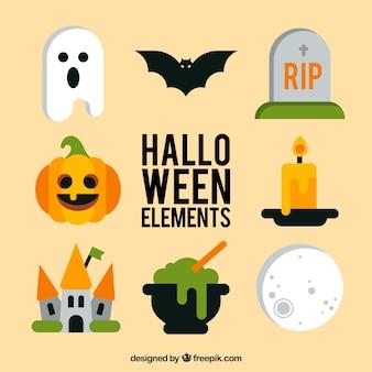 Diferentes artículos de halloween en estilo plano