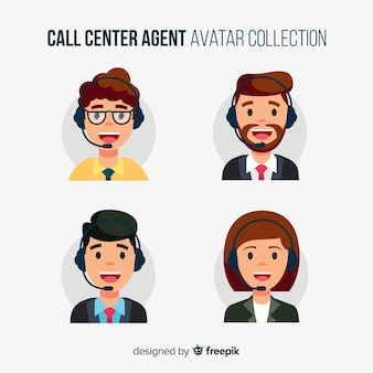 Diferentes avatares de call center en diseño flat