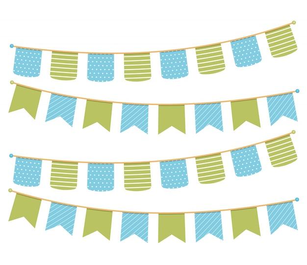 Diferentes banderines de colores para la decoración de invitaciones, tarjetas de felicitación, etc., banderines