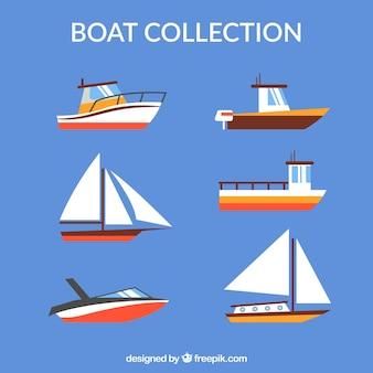 Diferentes barcos en diseño plano