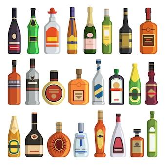 Diferentes bebidas alcohólicas en botellas.