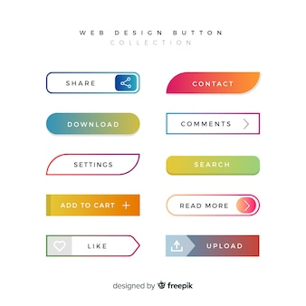 Diferentes botones web en estilo gradiente
