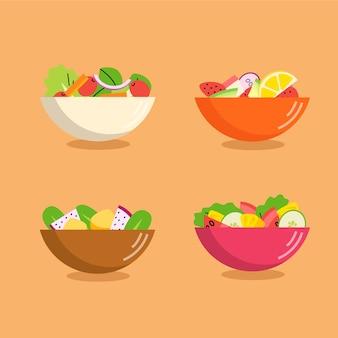 Diferentes colores de cuencos llenos de frutas y ensaladas.