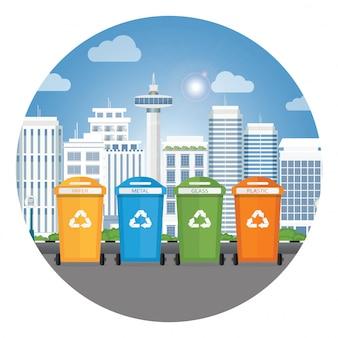 Diferentes colores reciclan cubos de basura.
