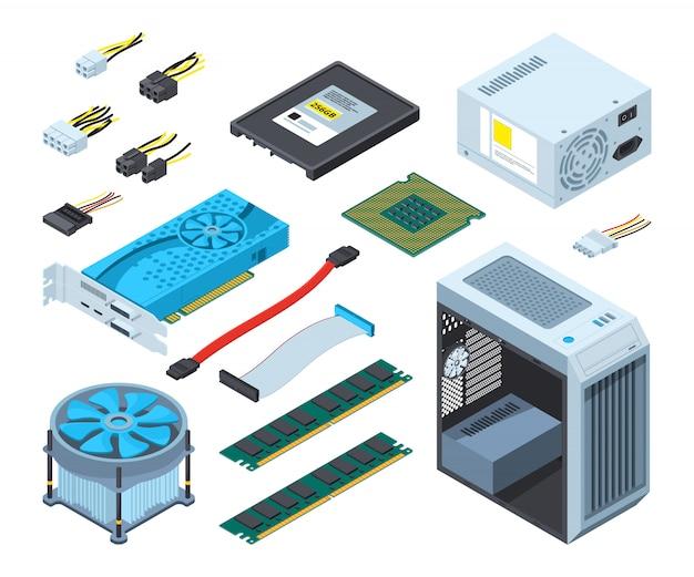 Diferentes componentes y componentes electrónicos para ordenador.