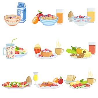 Diferentes conjuntos de alimentos y bebidas para el desayuno