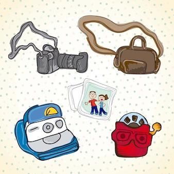 Diferentes conjuntos de objetos para fotografía.