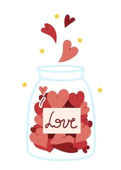 Diferentes corazones caen en un frasco de vidrio dulces del día de san valentín en forma de corazón