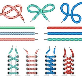Diferentes cordones para zapatos.