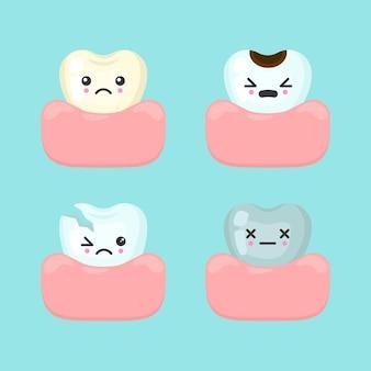 Diferentes dientes malos sucios