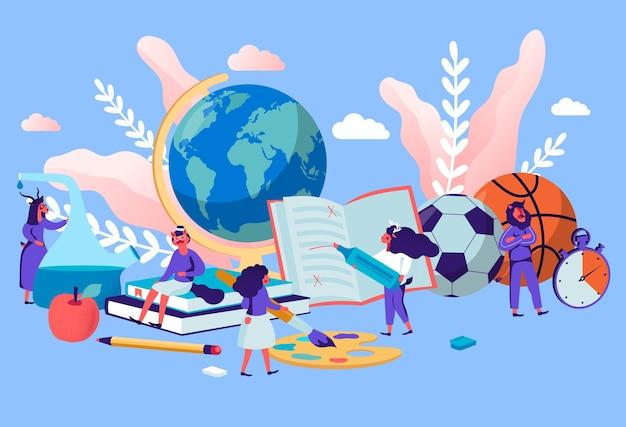Diferentes disciplinas como geografía, cultura física, química, literatura, lenguaje plano de dibujos animados