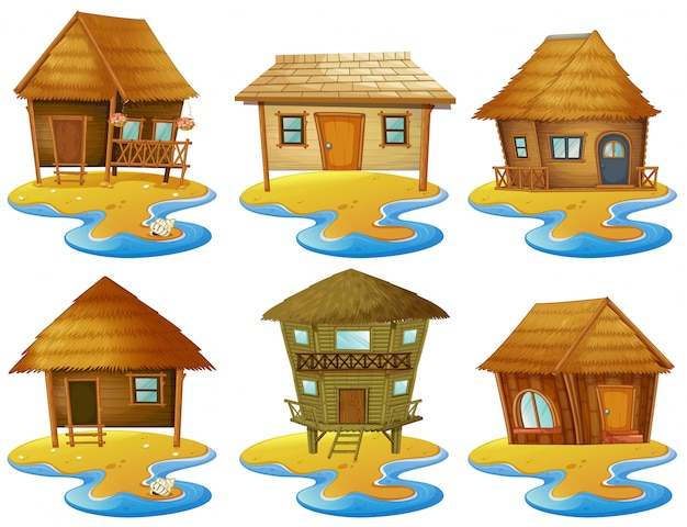 Diferentes diseños de cabaña en las islas
