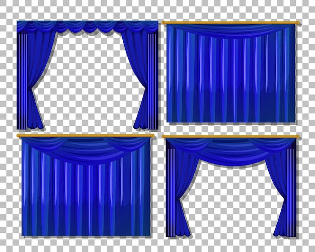Diferentes diseños de cortinas azules aisladas.