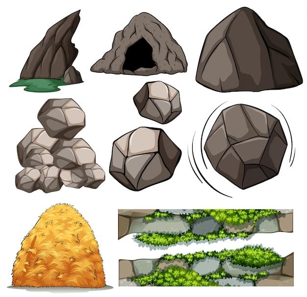 Diferentes diseños de cuevas y rocas