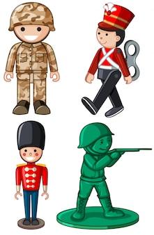 Diferentes diseños de soldados de juguete.