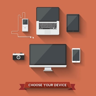 Diferentes dispositivos sobre un fondo rojo
