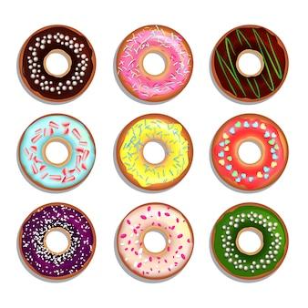 Diferentes donuts en estilo de dibujos animados.