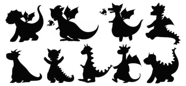 Diferentes dragones en silueta aislado sobre fondo blanco.